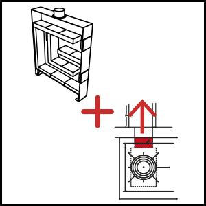 dettaglio Radiant panel + Flue outlet for heat accumulation stove